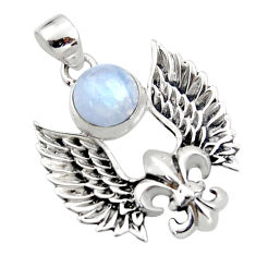 925 silver 5.22cts natural rainbow moonstone feather charm pendant r52880