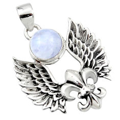 925 silver 5.20cts natural rainbow moonstone feather charm pendant r52899