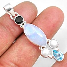 925 silver 15.08cts natural rainbow moonstone onyx topaz pearl pendant r63696