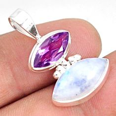 925 silver 10.08cts natural rainbow moonstone purple amethyst pendant r76963