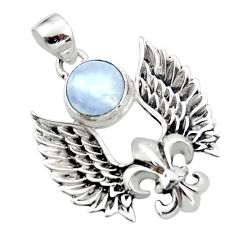 925 silver 5.08cts natural rainbow moonstone round feather charm pendant r52900