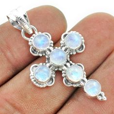 925 silver 5.87cts natural rainbow moonstone round holy cross pendant t52890