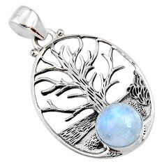 925 silver 5.06cts natural rainbow moonstone round tree of life pendant r52999