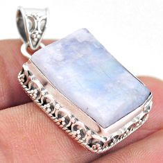 925 silver 23.69cts natural rainbow moonstone slice raw fancy pendant t20839