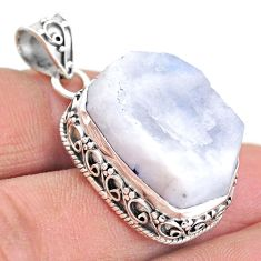 925 silver 23.60cts natural rainbow moonstone slice raw pendant t20831