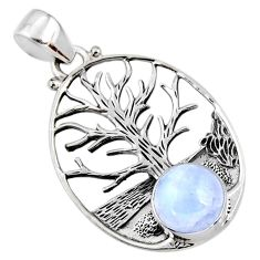 925 silver 4.92cts natural rainbow moonstone tree of life pendant r53020