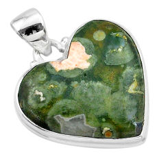 925 silver 17.65cts natural rainforest rhyolite jasper heart pendant t13471