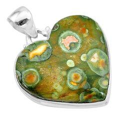 925 silver 18.70cts natural rainforest rhyolite jasper heart pendant t13475
