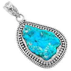 925 silver 11.20cts natural raw sleeping beauty turquoise pendant r66660