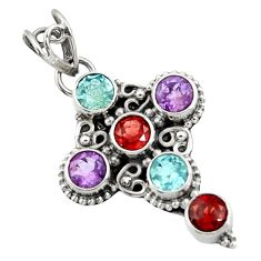 925 silver 5.53cts natural red garnet amethyst topaz holy cross pendant d44775