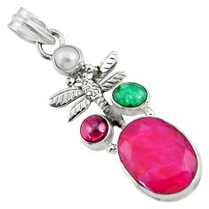 925 silver 12.65cts natural red ruby emerald pearl dragonfly pendant d43695