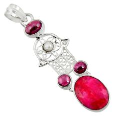 Clearance Sale- 925 silver 9.39cts natural red ruby garnet hand of god hamsa pendant d43698