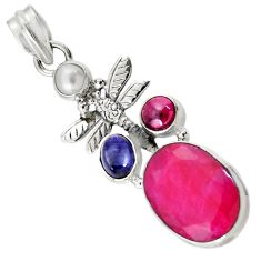 Clearance Sale- 925 silver 13.07cts natural red ruby lapis lazuli pearl dragonfly pendant d43689