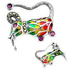 925 silver natural red ruby marcasite enamel brooch pendant jewelry c22880