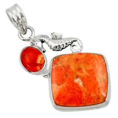 925 silver 18.46cts natural red sponge coral honey onyx seahorse pendant d44548
