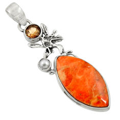 925 silver 17.93cts natural red sponge coral smoky topaz angel pendant d44544