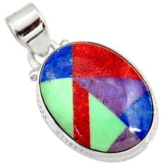 925 silver 11.62cts natural red sponge coral sodalite turquoise pendant d41388