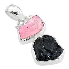 925 silver 9.37cts natural rose quartz raw tourmaline rough pendant t20917