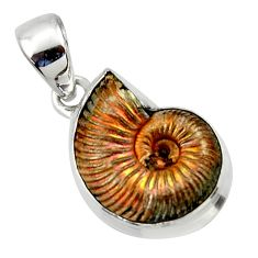 925 silver 14.40cts natural russian jurassic opal ammonite pendant r40079