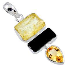 925 silver 13.87cts natural scapolite tourmaline rough pendant r56657