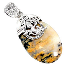 925 silver 32.65cts natural scenic russian dendritic agate angel pendant r72883