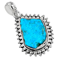 925 silver 9.98cts natural sleeping beauty turquoise rough fancy pendant r62260