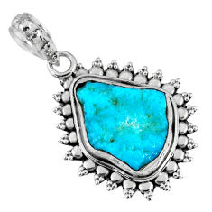 925 silver 8.09cts natural sleeping beauty turquoise rough fancy pendant r62277