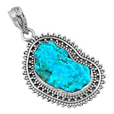 925 silver 10.29cts natural sleeping beauty turquoise rough fancy pendant r62280
