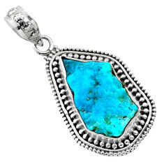 925 silver 10.32cts natural sleeping beauty turquoise raw pendant r66624