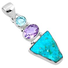 925 silver 9.75cts natural sleeping beauty turquoise raw topaz pendant r66908