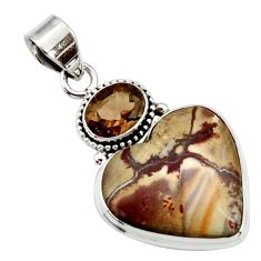 925 silver 19.23cts natural sonoran dendritic rhyolite heart pendant d44620