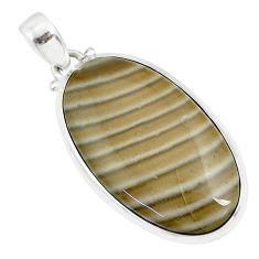 925 silver 22.30cts natural striped flint ohio oval shape pendant r81075