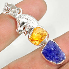 925 silver 12.70cts natural tanzanite raw citrine rough horse pendant r80775