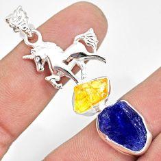 925 silver 12.70cts natural tanzanite raw citrine rough horse pendant r80825