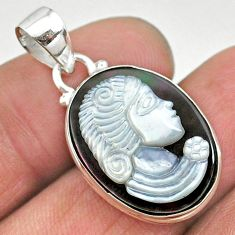 925 silver 11.68cts natural titanium cameo on shell lady face pendant t11164