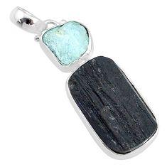 925 silver 14.12cts natural tourmaline raw aquamarine rough pendant t9837