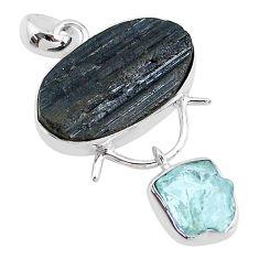 925 silver 14.72cts natural tourmaline raw aquamarine rough pendant t9839