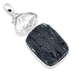 925 silver 19.72cts natural tourmaline raw herkimer diamond pendant t9804