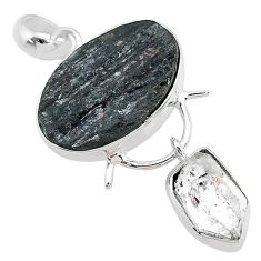 925 silver 15.96cts natural tourmaline raw herkimer diamond pendant t9944