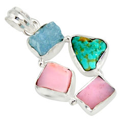 925 silver 15.02cts natural turquoise aquamarine rough pink opal pendant r26868