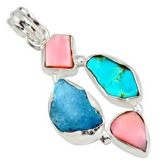 925 silver 14.95cts natural turquoise aquamarine rough pink opal pendant r26873