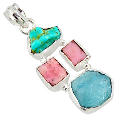 925 silver 15.00cts natural turquoise aquamarine rough pink opal pendant r26878