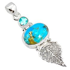 925 silver 7.04cts natural turquoise pyrite deltoid leaf pendant r78100