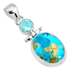 925 silver 11.15cts natural turquoise pyrite oval topaz pendant r78235