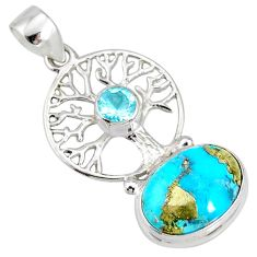 925 silver 6.36cts natural turquoise pyrite tree of life pendant r78095