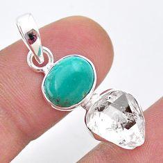 925 silver 7.98cts natural turquoise tibetan herkimer diamond pendant t49117