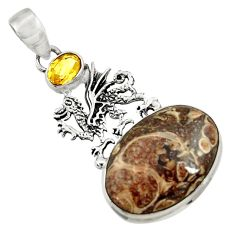 Clearance Sale- 925 silver 18.31cts natural turritella fossil snail agate dragon pendant d44583