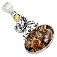 Clearance Sale- 925 silver 19.25cts natural turritella fossil snail agate dragon pendant d44600
