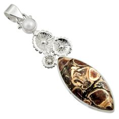 Clearance Sale- 925 silver 18.46cts natural turritella fossil snail agate flower pendant d44597