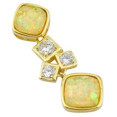 925 silver natural white australian opal (lab) topaz gold pendant a61012 c15249